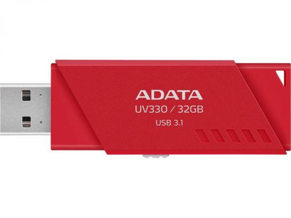 Imagine Stick USB 3.0 retractabil UV330 32GB Rosu, ADATA AUV330-32G-RRD