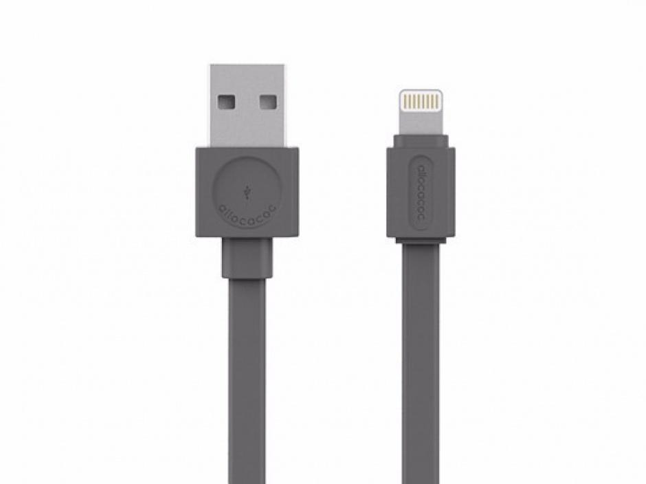 Imagine Cablu de date + alimentare USB la Lightning 1.5m Gri, Allocacoc