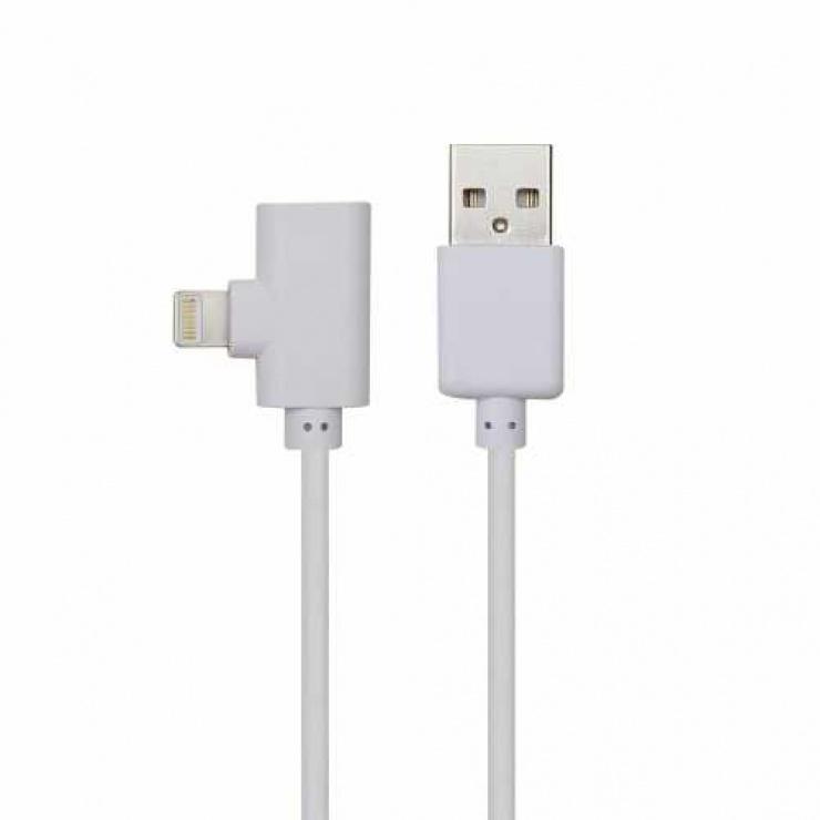 Imagine Cablu USB 2.0 la iPhone Lightning 2 in 1 incarcare + date Alb