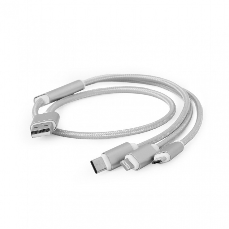Imagine Cablu USB 2.0 la Micro USB-B, USB-C si Lightning Apple 1m, Gembird CC-USB2-AM31-1M-S