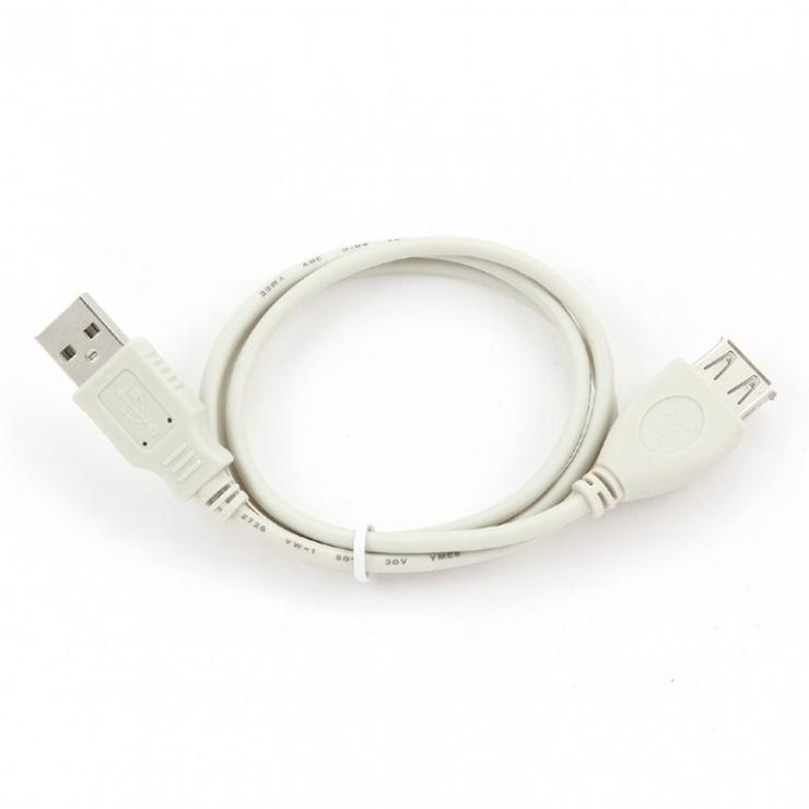 Imagine Cablu prelungitor USB 2.0 75cm, Gembird CC-USB2-AMAF-75cm-1