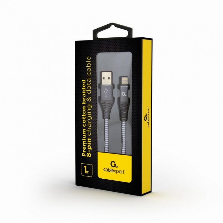 Imagine Cablu date + incarcare USB la iPhone Lightning Premium 1m Silver/Alb, Gembird-1