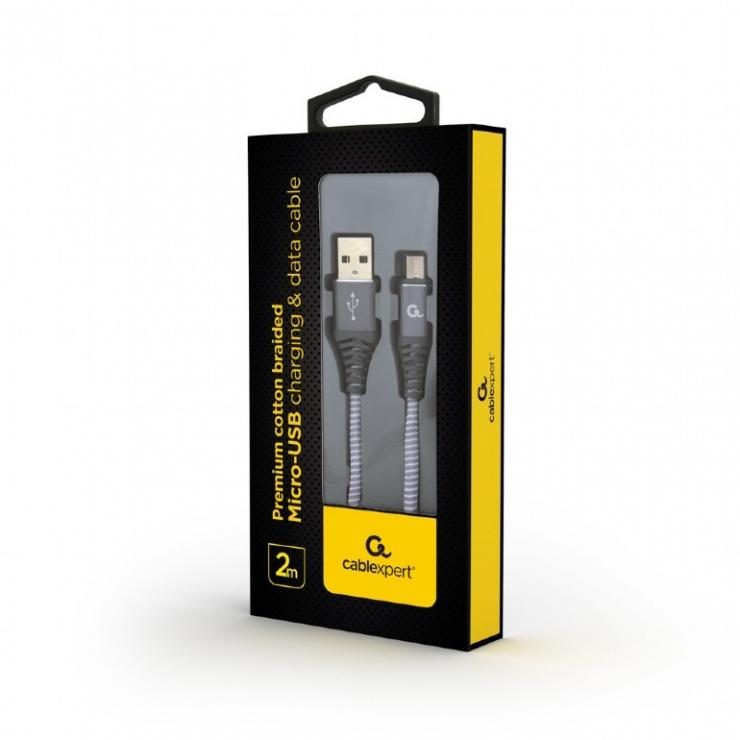 Imagine Cablu micro USB-B la USB 2.0 Premium Gri/Alb brodat 2m, Gembird CC-USB2B-AMmBM-2M-WB2-1