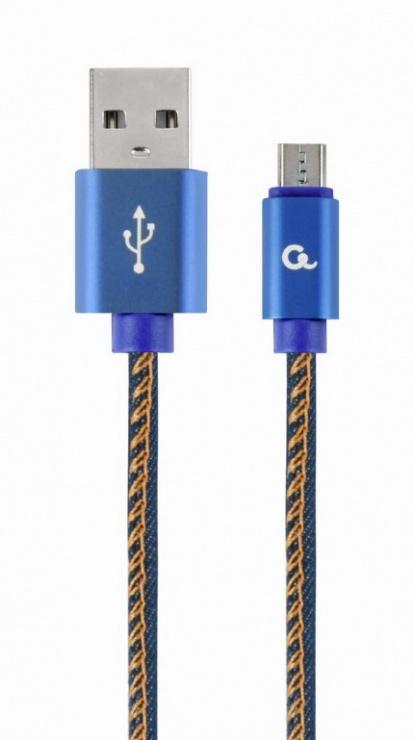 Imagine Cablu micro USB-B la USB 2.0 Premium jeans (denim) 1m, Gembird CC-USB2J-AMmBM-1M-BL