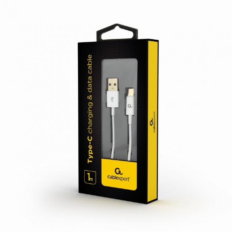 Imagine Cablu USB 2.0 la USB-C T-T 1m Alb, Gembird CC-USB2P-AMCM-1M-W-1