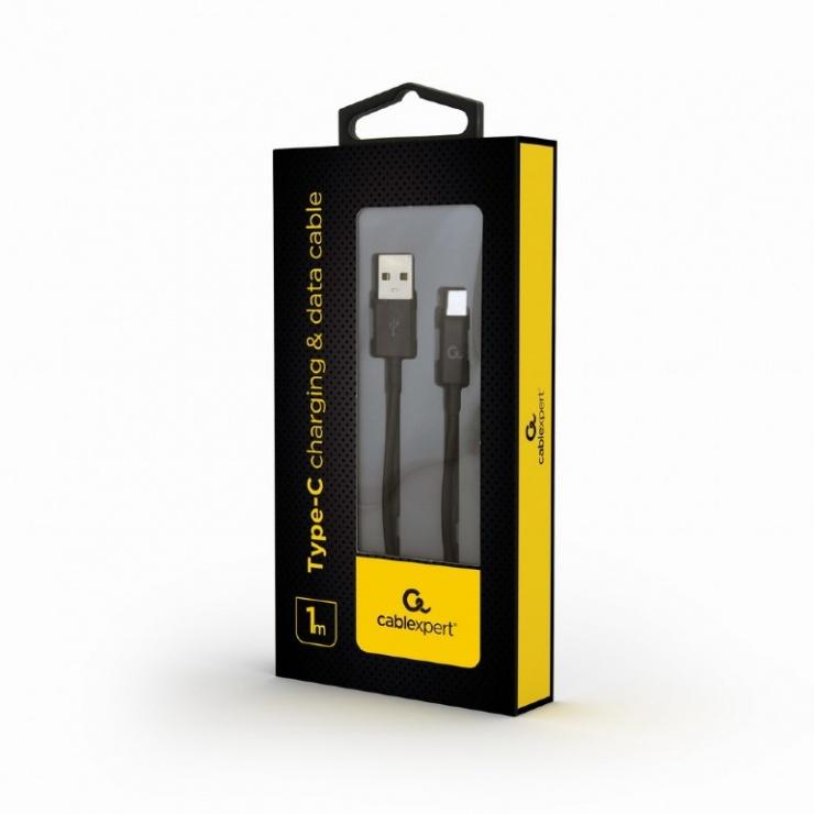 Imagine Cablu USB 2.0 la USB-C T-T 1m Negru, Gembird CC-USB2P-AMCM-1M-1