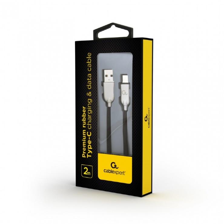 Imagine Cablu USB 2.0 la USB-C Premium 2m Negru, Gembird CC-USB2R-AMCM-2M-1