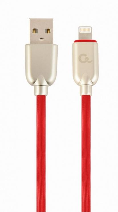 Imagine Cablu USB 2.0 la iPhone Lightning Premium 1m Rosu, Gembird CC-USB2R-AMLM-1M-R