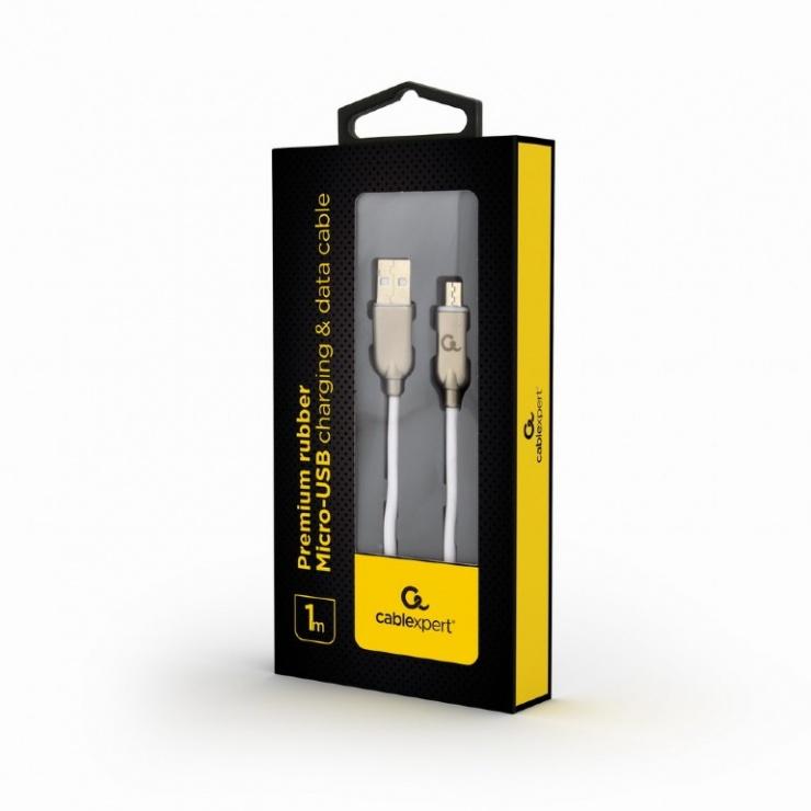 Imagine Cablu micro USB-B la USB 2.0 Premium 1m Alb, Gembird CC-USB2R-AMmBM-1M-W-1