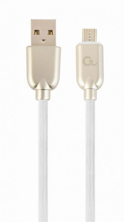 Imagine Cablu micro USB-B la USB 2.0 Premium 2m Alb, Gembird CC-USB2R-AMmBM-2M-W