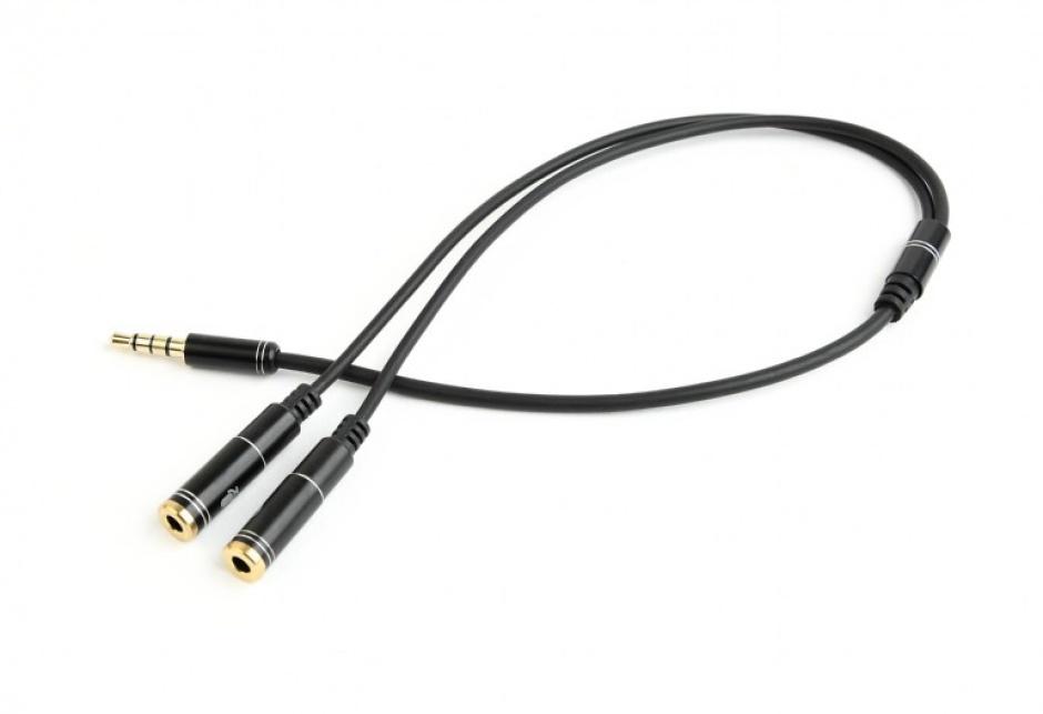 Imagine Cablu stereo jack 3.5mm 4 pini la 2 x jack 3.5mm casca + microfon T-M 0.2m, Gembird CCA-417M