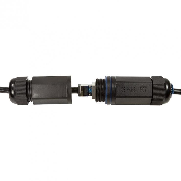 Imagine Cablu de retea S/FTP RJ45 pentru exterior CAT.6A 0.5m Negru, Logilink CQ7023S-5