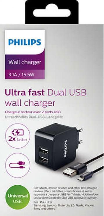 Imagine Incarcator priza 2 x USB 5V/3.1A/15.5W + cablu micro USB, Philips DLP2307U/12-1