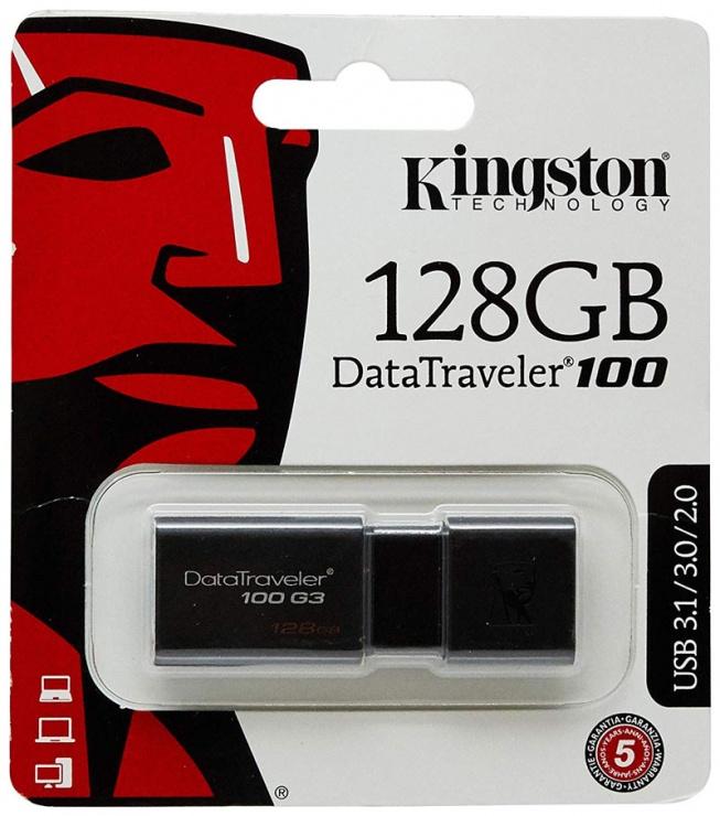Imagine Stick USB 3.0 128GB DataTraveler Black, KINGSTON DT100G3/128GB-1
