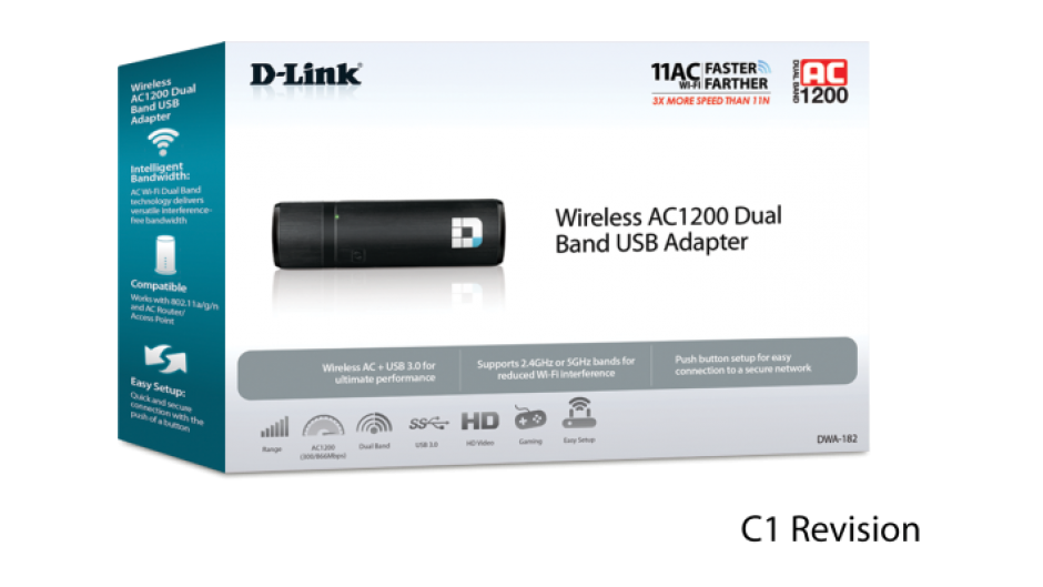 Imagine Adaptor wireless USB 3.0 AC1200 dual-band, D-LINK DWA-182