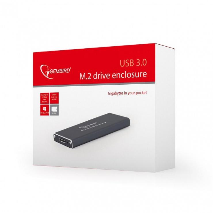 Imagine Rack extern USB 3.1 pentru SSD M.2 Negru, Gembird EE2280-U3C-01-4