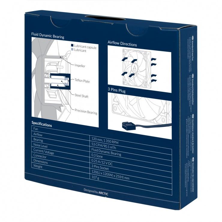 Imagine Ventilator pentru carcasa 120mm low noise FD bearing, Arctic F12