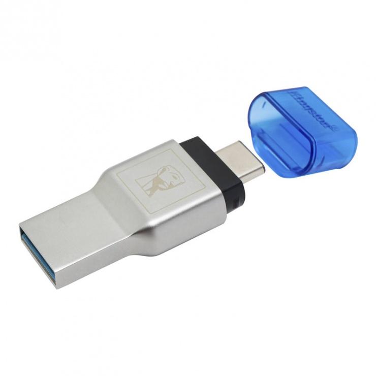 Imagine Cititor de carduri USB 3.1-C la microSD/SDHC/SDXC UHS-I, Kingston FCR-ML3C-1