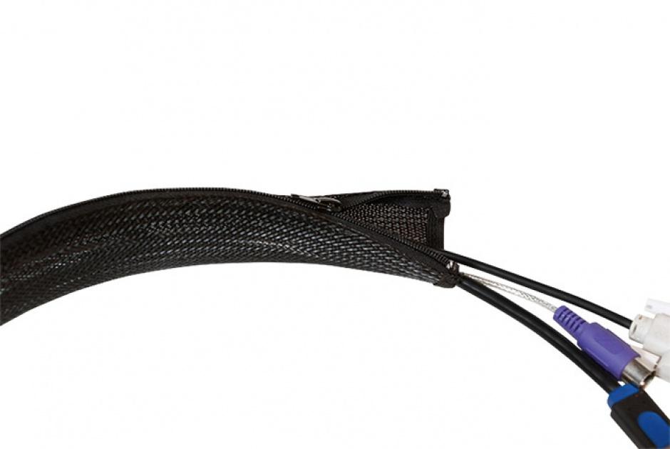 Imagine Plasa pentru fixarea cablurilor cu fermoar 50x35x1000mm Negru, Logilink KAB0048-2