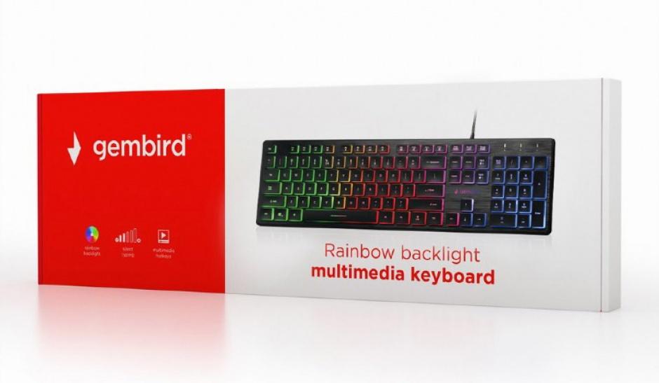 Imagine Tastatura multimedia USB Rainbow, Gembird KB-UML-01-3