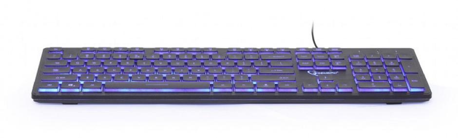 Imagine Tastatura Multimedia USB backlight 3 culori Black, Gembird KB-UML3-01