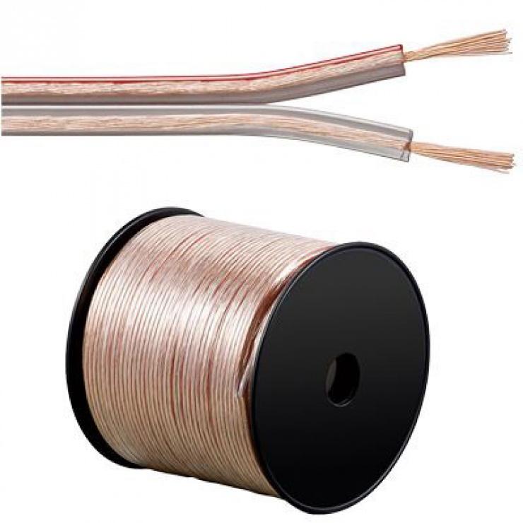 Imagine Cablu pentru boxe/difuzor transparent 2 x 4mm 3m 50V