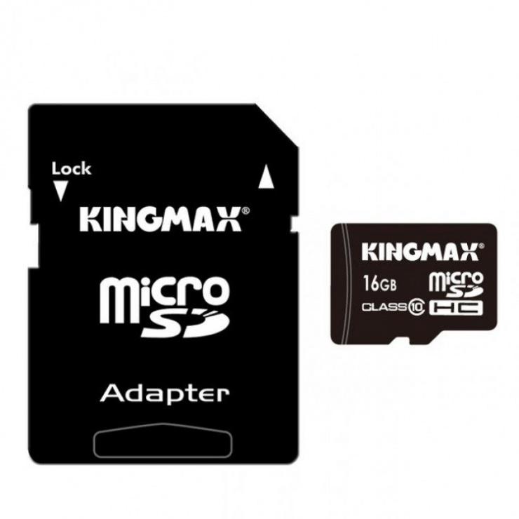 Imagine Card de memorie micro SDHC 16GB clasa 10 PRO + adaptor SD, Kingmax KM-PS04-16GB-PRO