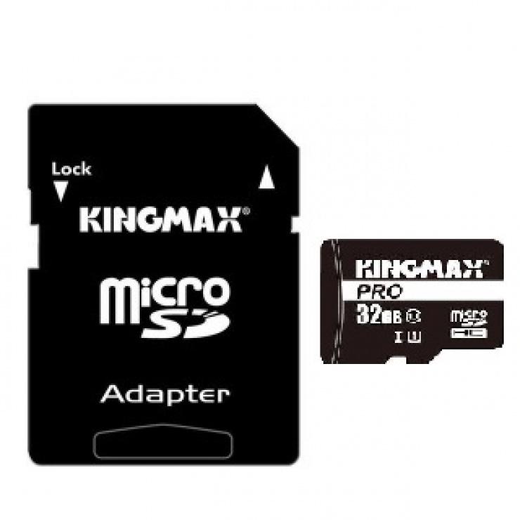 Imagine Card de memorie micro SDHC 16GB Clasa 10 + adaptor SD, Kingmax KM-PS04-16GB