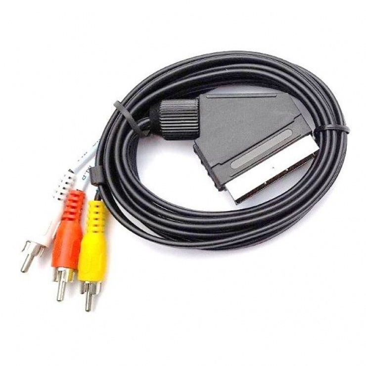 Imagine Cablu Scart la 3 x RCA T-T 2m, KTCBLHE11022A