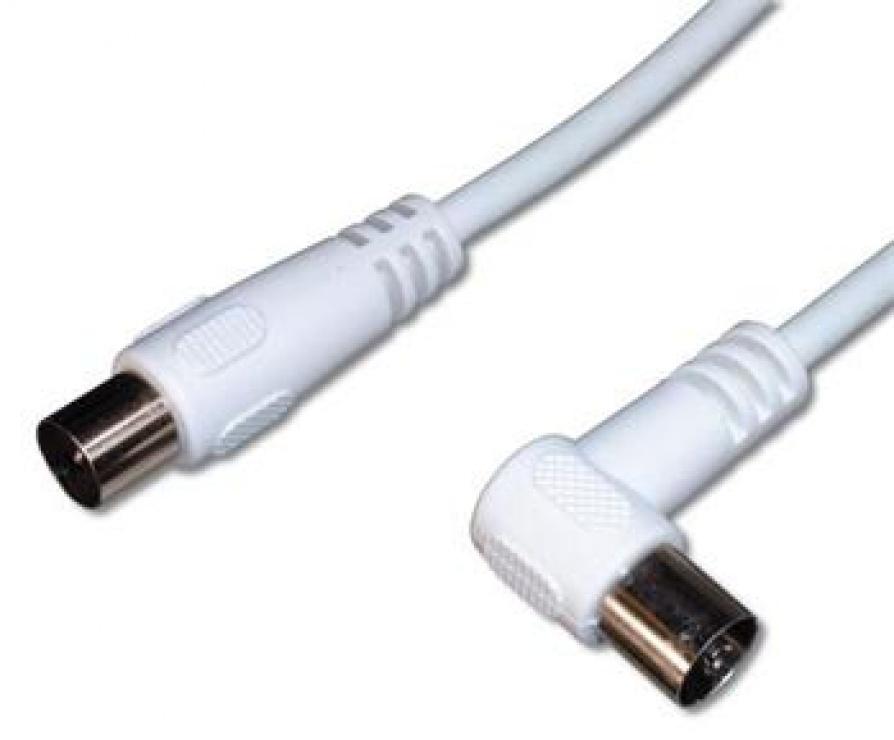 Imagine Cablu antena coaxial conector unghi alb T-M 75 Ohm 10m, KTMF10U