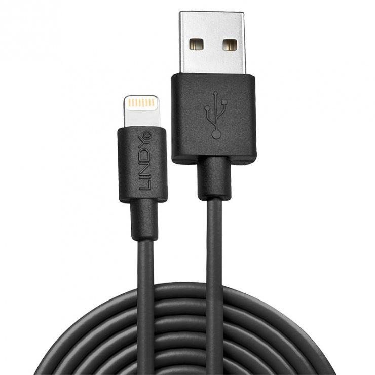 Imagine Cablu de incarcare + date USB la Lightning MFI 1m Negru, Lindy L31320-1