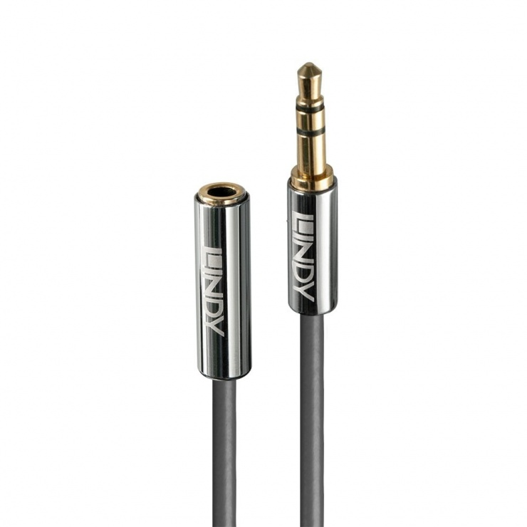 Imagine Cablu prelungitor audio jack stereo 3.5mm CROMO Line T-M 5m, Lindy L35330