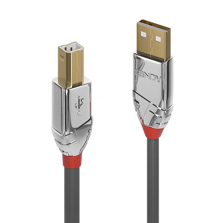 Imagine Cablu USB tip A la B T-T 7.5m Cromo Line, Lindy L36645