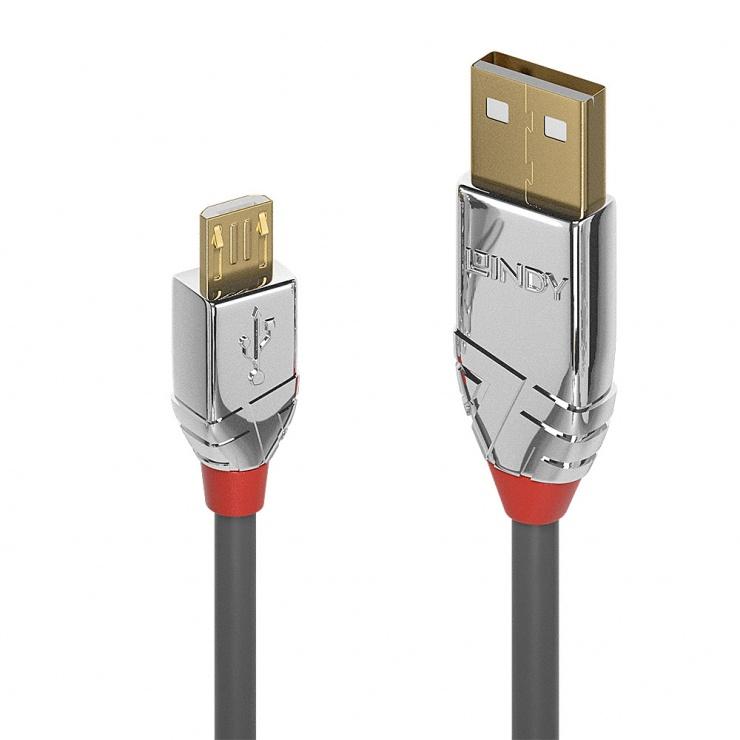 Imagine Cablu USB 2.0 la micro USB-B Cromo Line T-T 3m, Lindy L36653