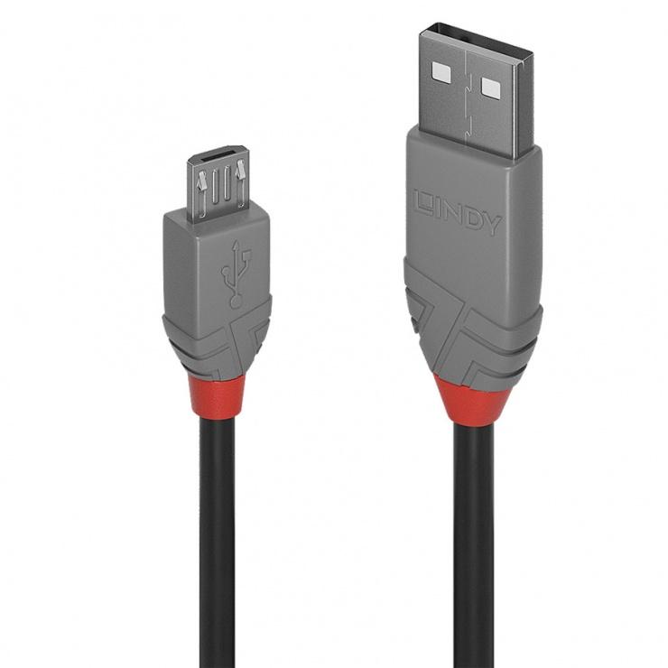Imagine Cablu USB 2.0 la micro USB-B 3m T-T Anthra Line, Lindy L36734