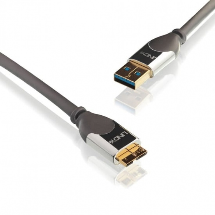 Imagine Cablu USB 3.0 la micro-B T-T CROMO 2m, Lindy L41619-1