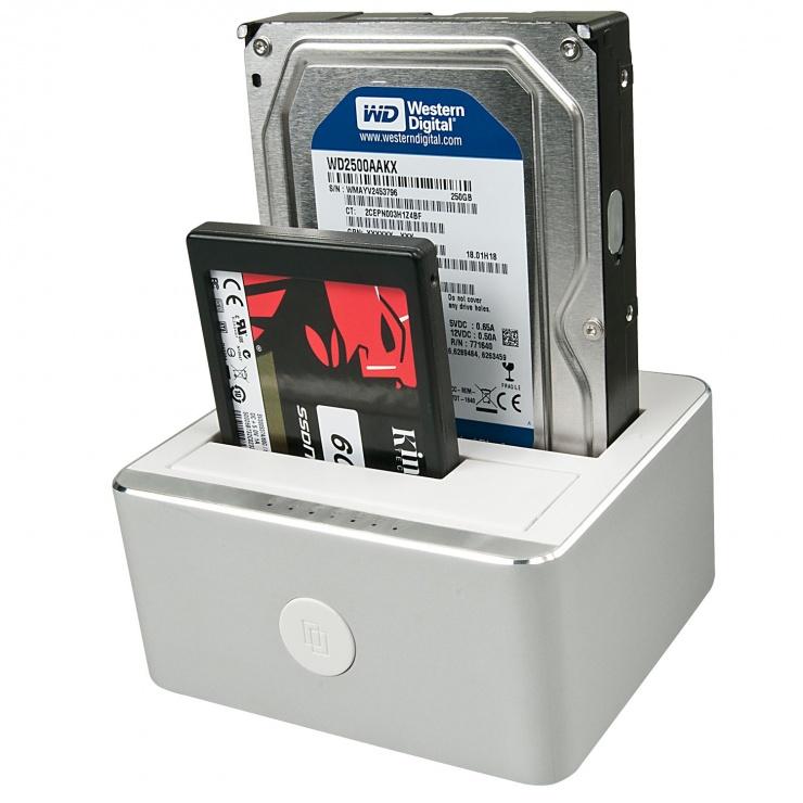 "Imagine Docking station USB 3.1 tip C Gen 2 pentru HDD SATA 2.5"" + 3.5"" Functie de Clona, Lindy L43231-1"