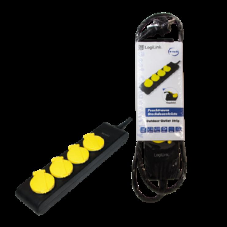 Imagine Cablu prelungitor cu protectie IP44 4 prize Schuko 1.4m, Logilink LPS212