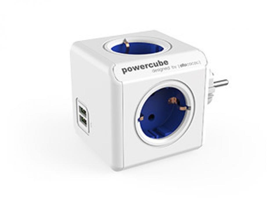 Imagine Prelungitor in forma de cub PowerCube Original 4 prize Schuko si 2 X USB Albastru, Allocacoc