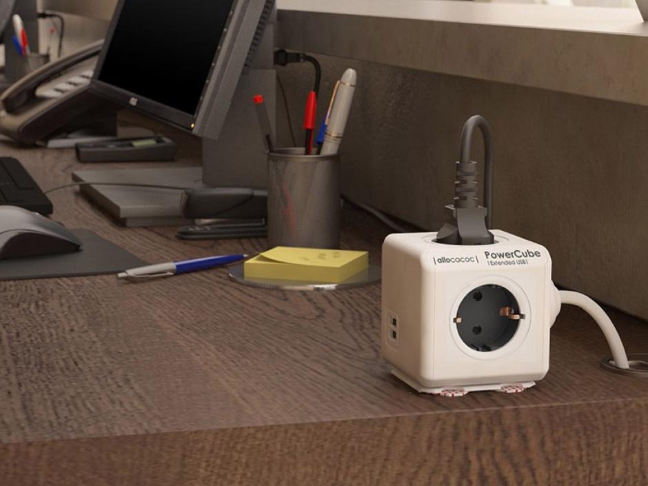 Imagine Prelungitor in forma de cub PowerCube Original 5 prize Schuko Gri, Allocacoc-1
