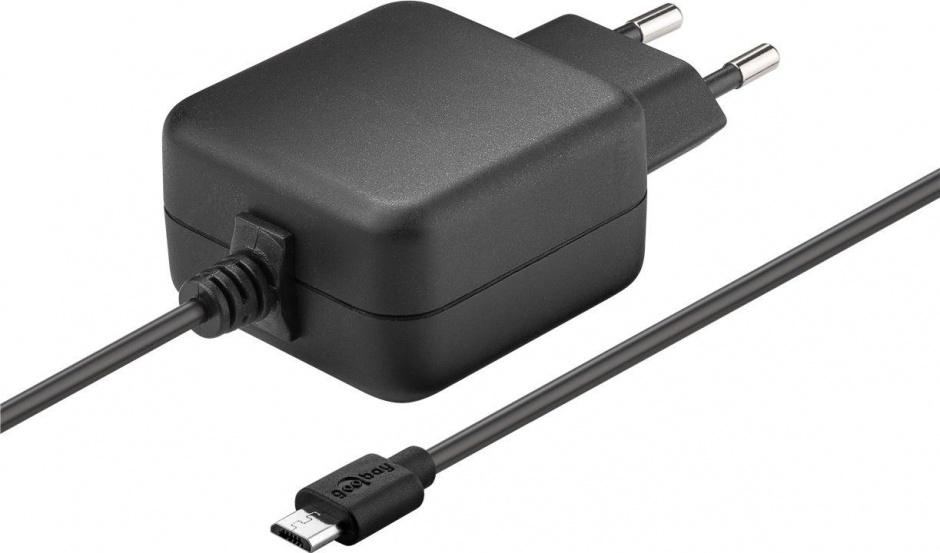 Imagine Incarcator priza cu micro USB-B 1m 2.5A pentru Raspberry Pi 1/2/3, Goobay 71889
