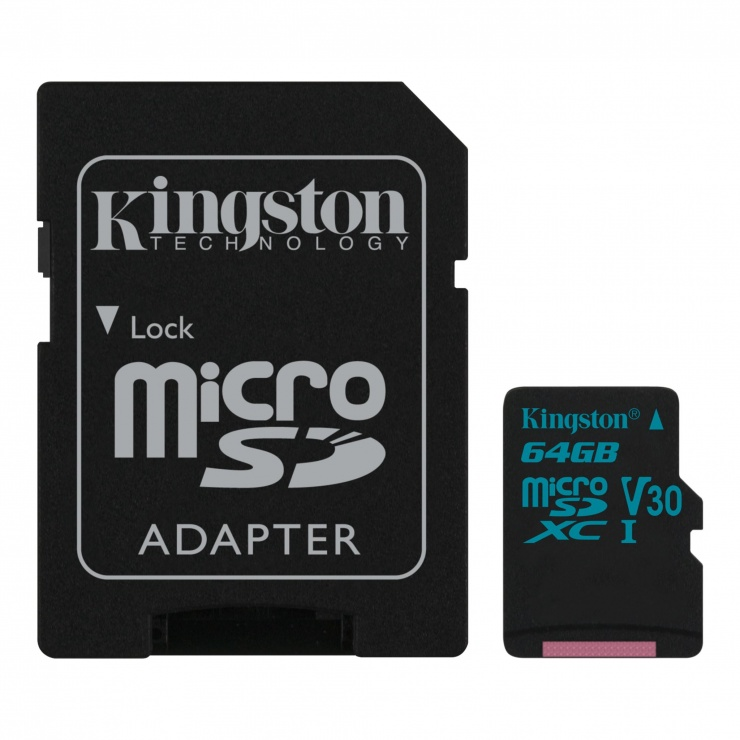 Imagine Card de memorie micro SDXC + adaptor SD 64GB clasa 10 UHS-I, Kingston SDCG2/64GB