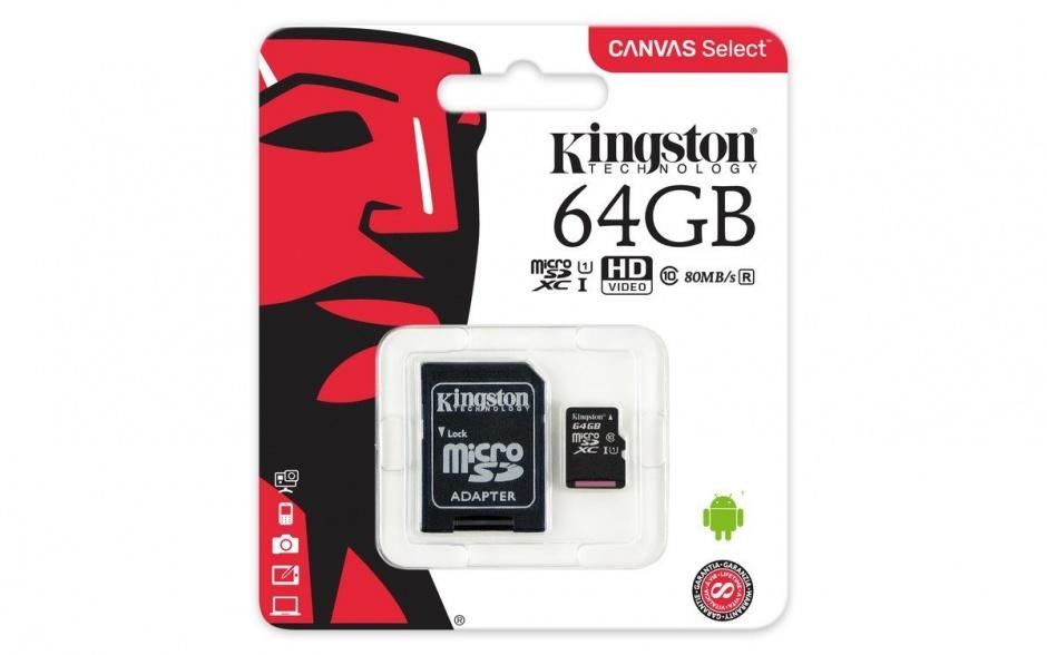Imagine Card de memorie micro SDXC Canvas Select 64GB clasa 10 + adaptor SD, Kingston SDCS/64GB