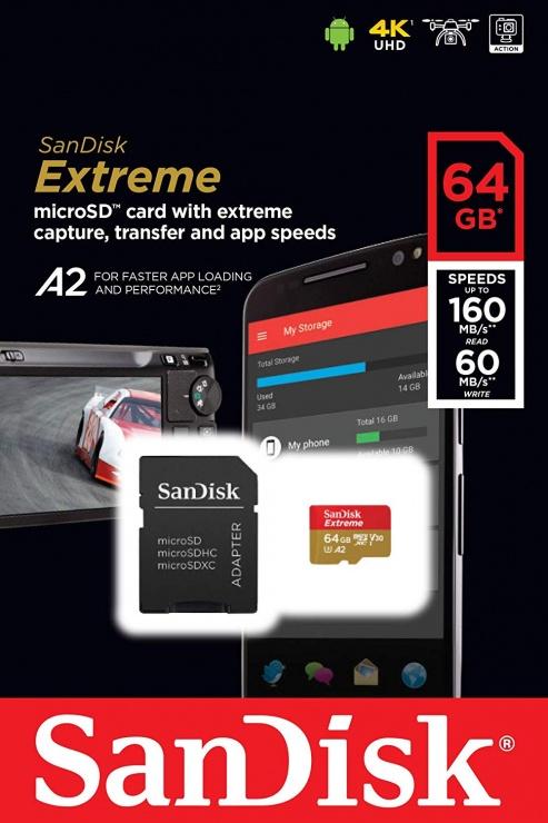 Imagine Card de memorie microSDXC 64GB clasa 10 + adaptor SD, SanDisk Extreme-2