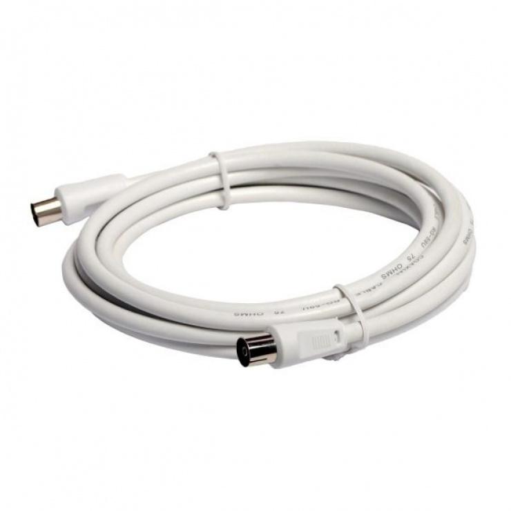 Imagine Cablu prelungitor coaxial (antena) RG59 T-M Alb 3m, Spacer SP-PT-COAX-3M