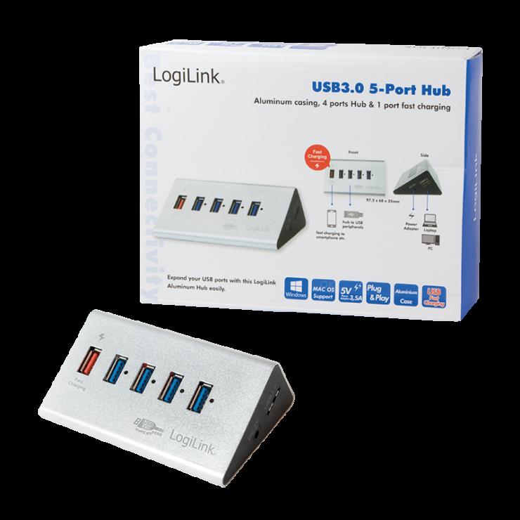 Imagine HUB USB 3.0 cu 4 porturi + 1 port Quick/Fast charge montare masa, Logilink UA0227