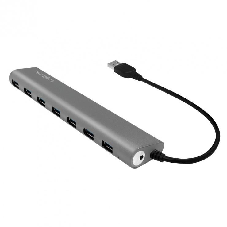Imagine HUB carcasa metalica USB 3.0 cu 7 porturi, Logilink UA0308