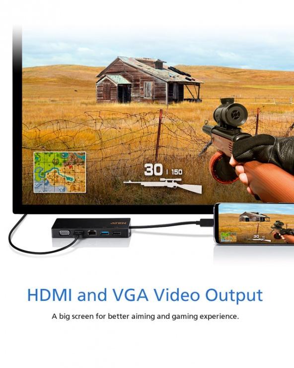 Imagine Docking station USB-C la 1 x HDMI 4K@30Hz, 1 x VGA, 1 x Gigabit, 1 x USB-A-6