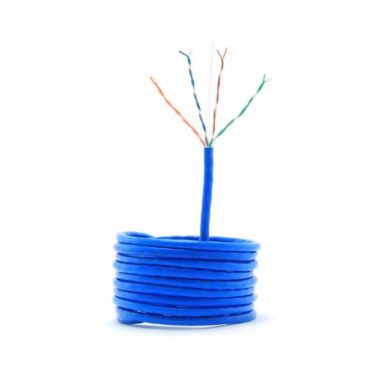 Imagine Rola cablu de retea UTP cat 5e fir solid 305m bleu, Gembird UPC-5004E-SO-BLUE