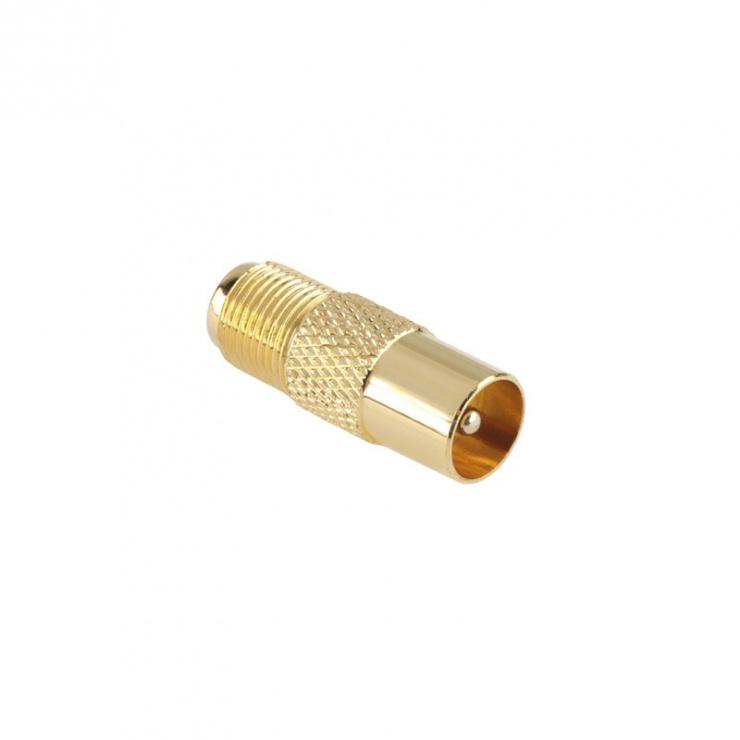 Imagine Adaptor auriu mufa F la mufa coaxial TV M-T, ZLA0460-1